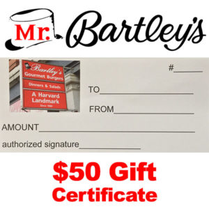 MrBartley's $50 Gift Certificate