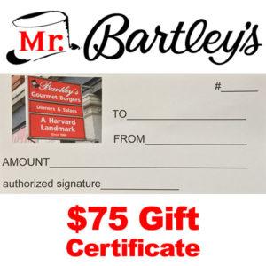 MrBartley's $75 Gift Certificate